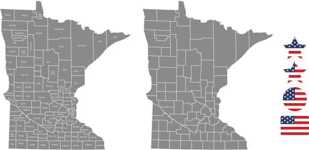 minnesota county map vector outline in gray background. minnesota state of usa map with counties names labeled and united states flag icon vector illustration designs - st louis stock illustrations