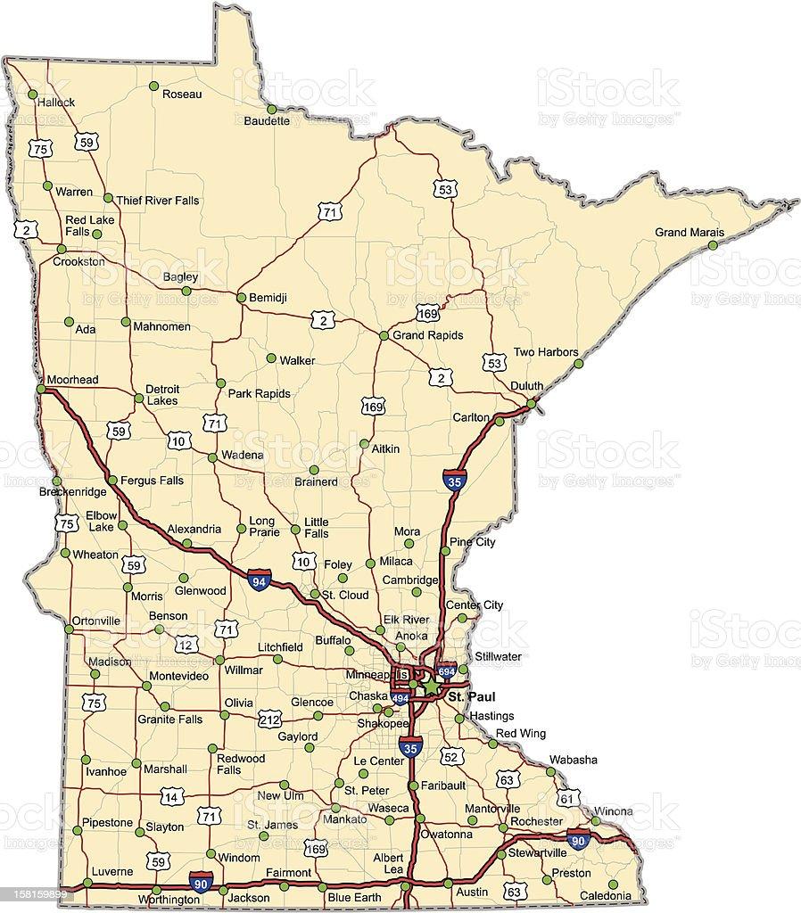 Minnesota Highway Map vector art illustration