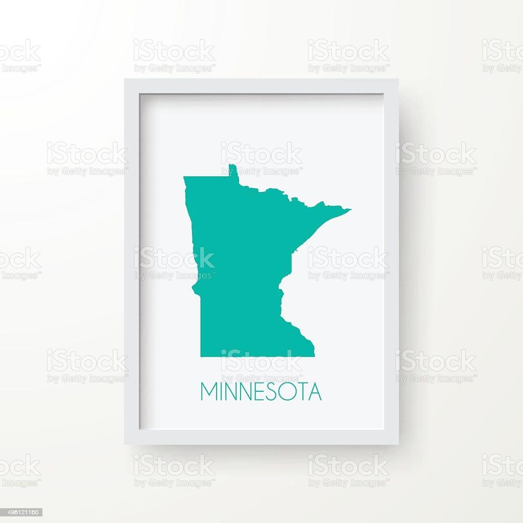 Minnesota Map in Frame on White Background vector art illustration