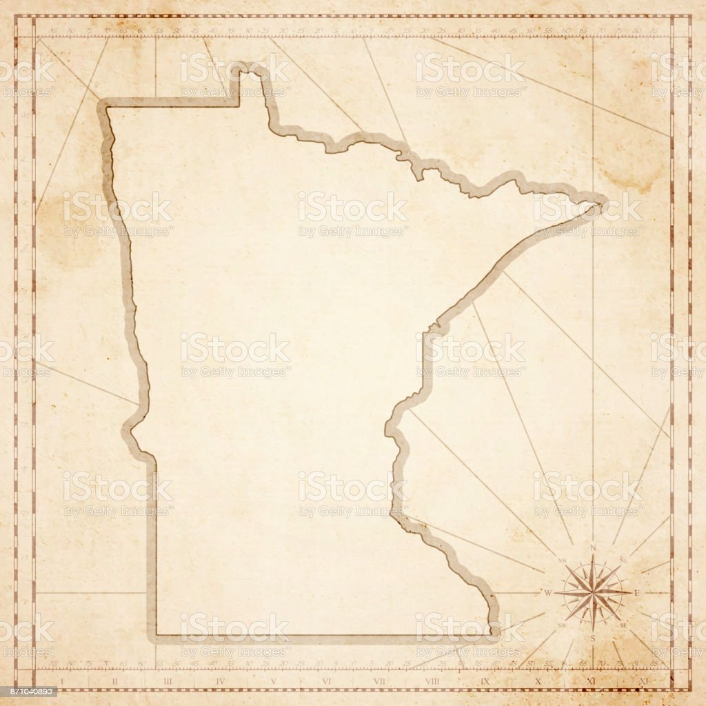 Minnesota map in retro vintage style - old textured paper vector art illustration