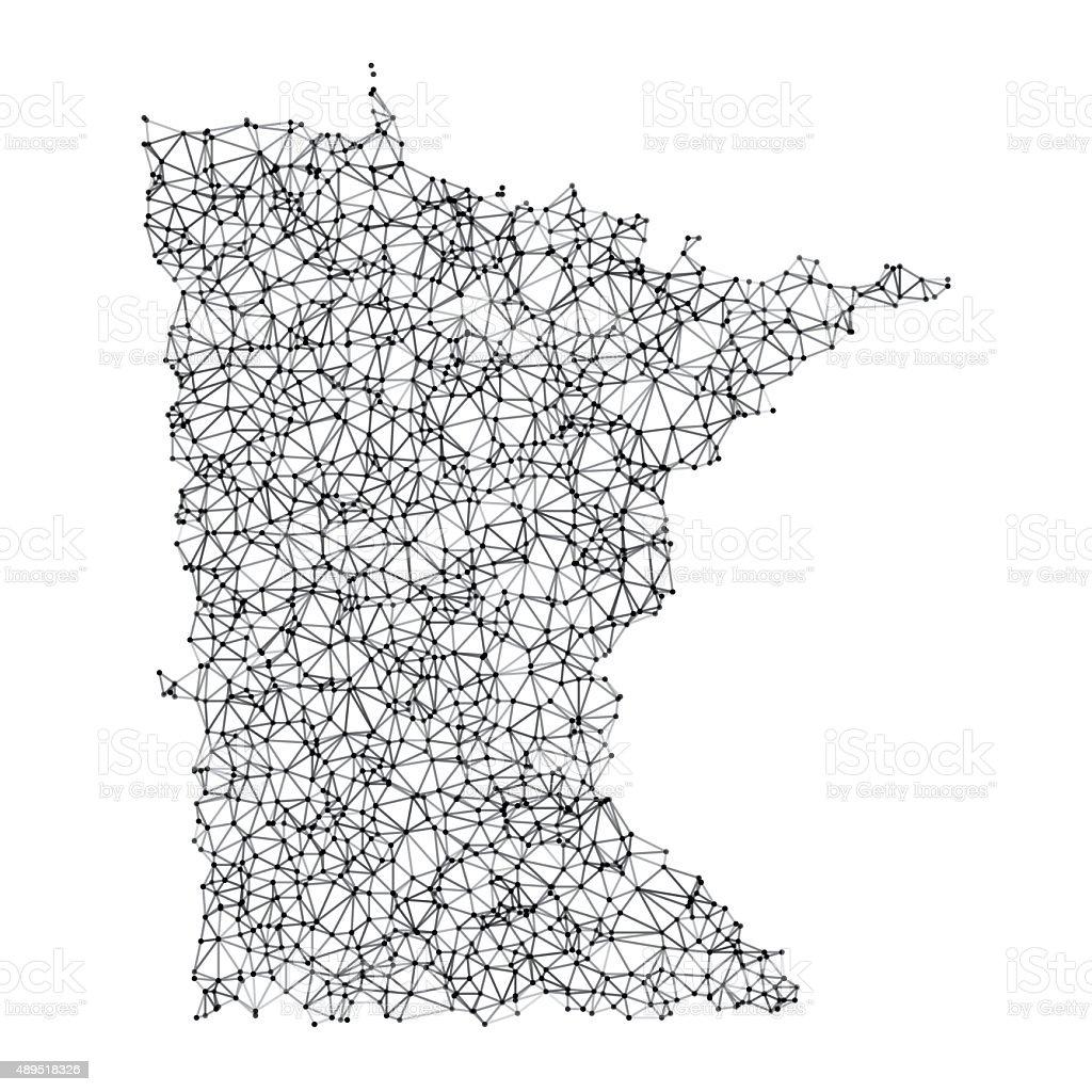 Minnesota Map Network Black And White vector art illustration