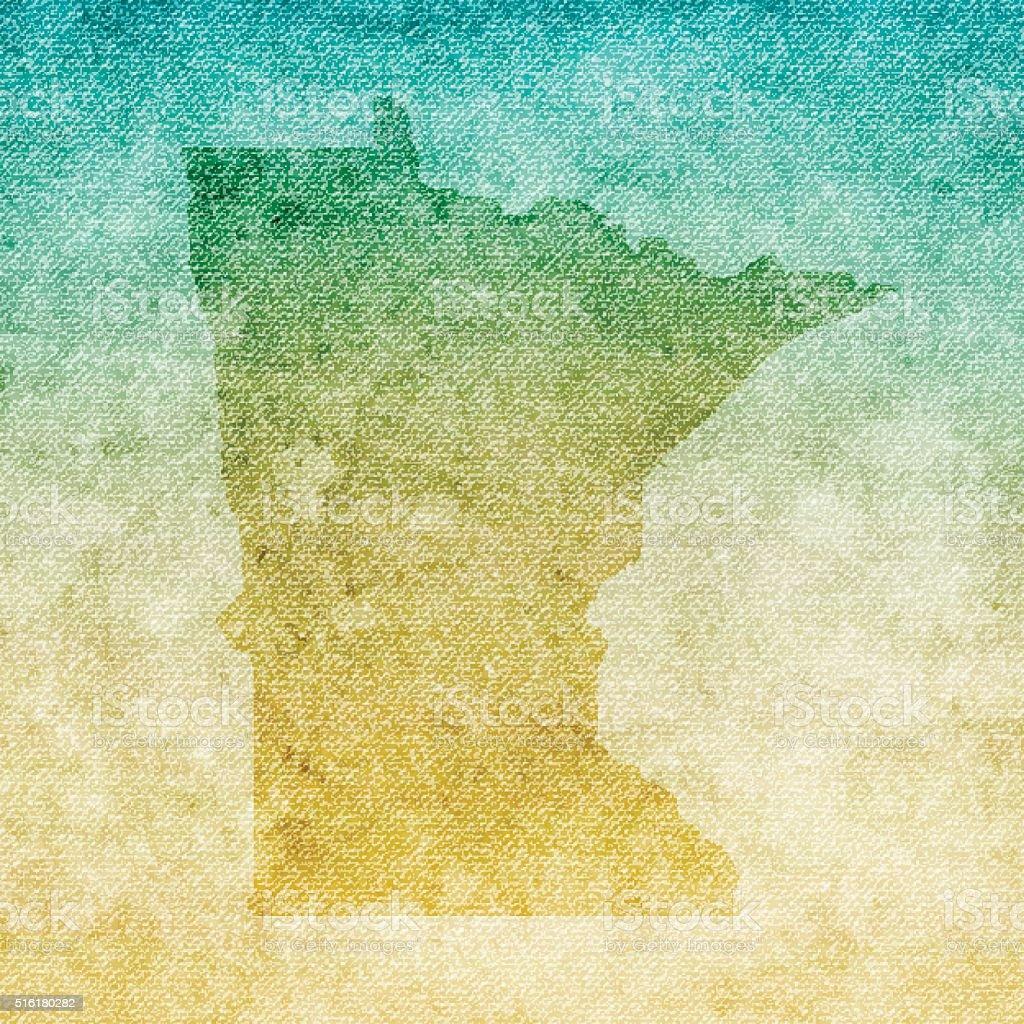 Minnesota Map on grunge Canvas Background vector art illustration