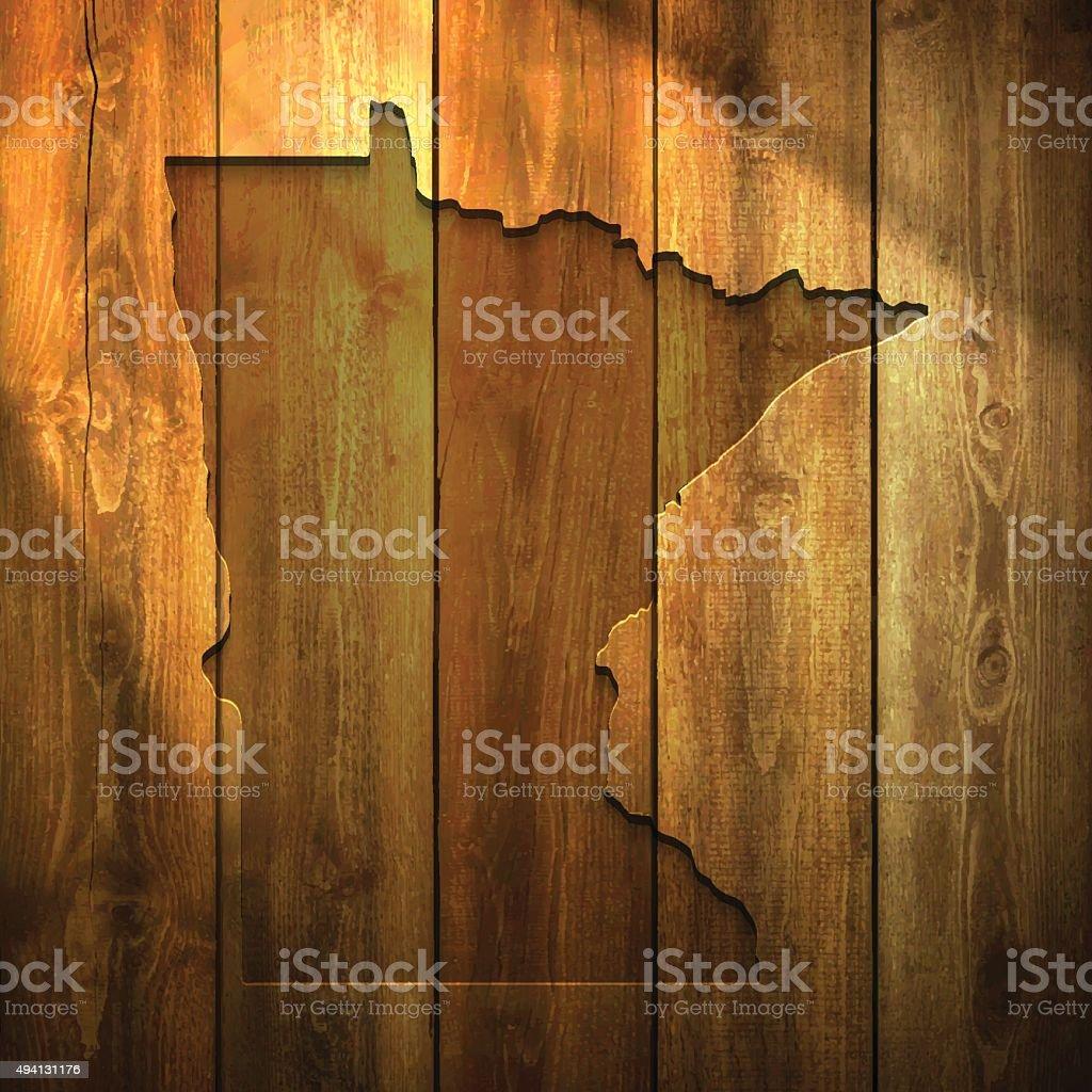 Minnesota Map on lit Wooden Background vector art illustration