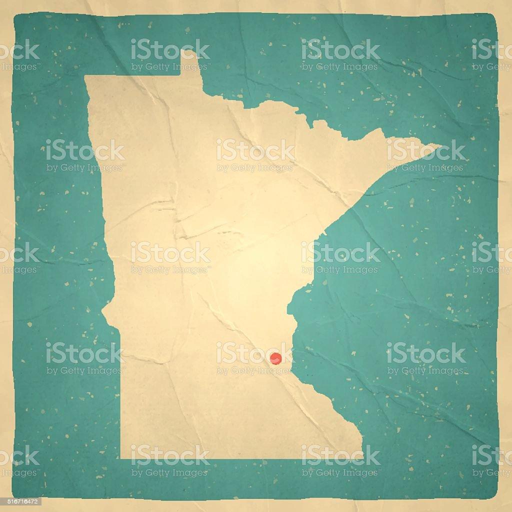 Minnesota Map on old paper - vintage texture vector art illustration
