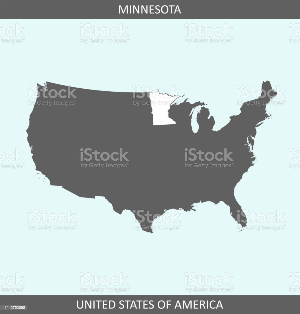 Minnesota Map Us Outline Vector Stock Vector Art More Images Of - Minnesota-in-us-map