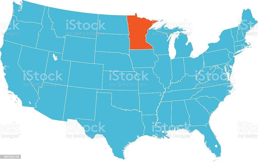 Minnesota Map vector art illustration