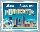 Vector Minnesota Stamp