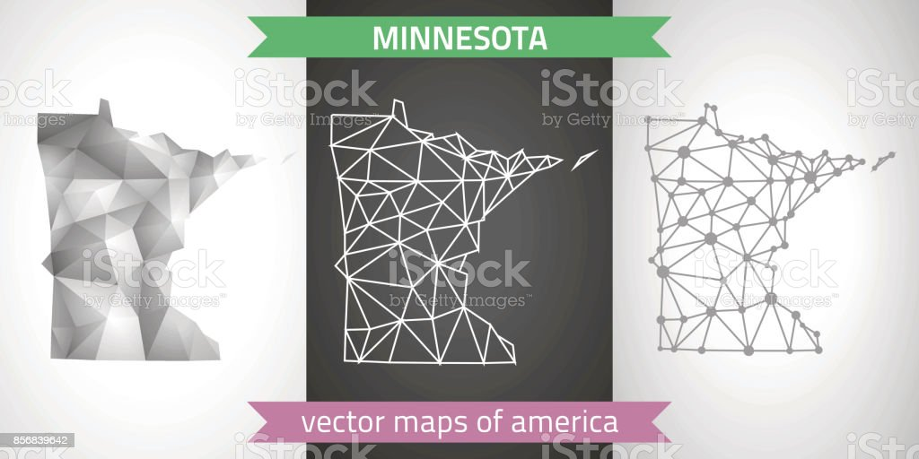 Minnesota set of grey and silver mosaic 3d polygonal maps. Graphic modern maps. vector art illustration