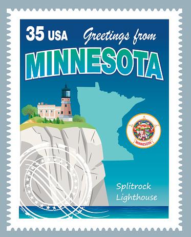 Vector Minnesota Stamp