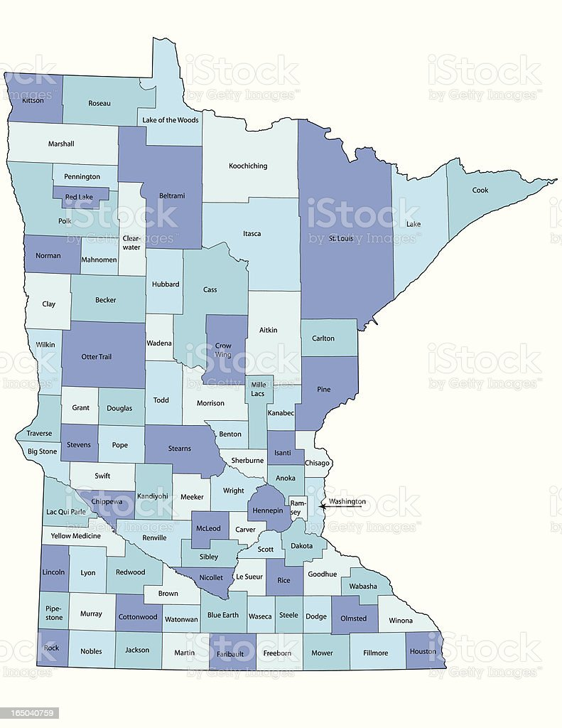 Minnesota state - county map vector art illustration