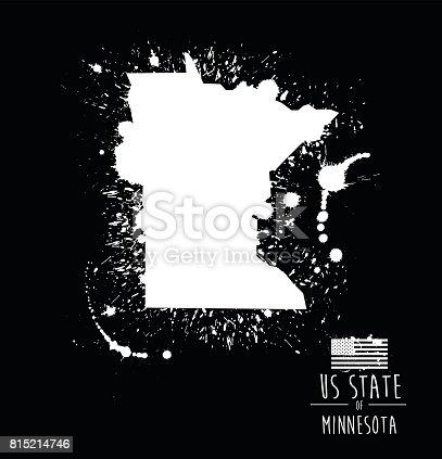 Ilustración de Estado De Minnesota Tinta Splat Grunge Ilustración y ...