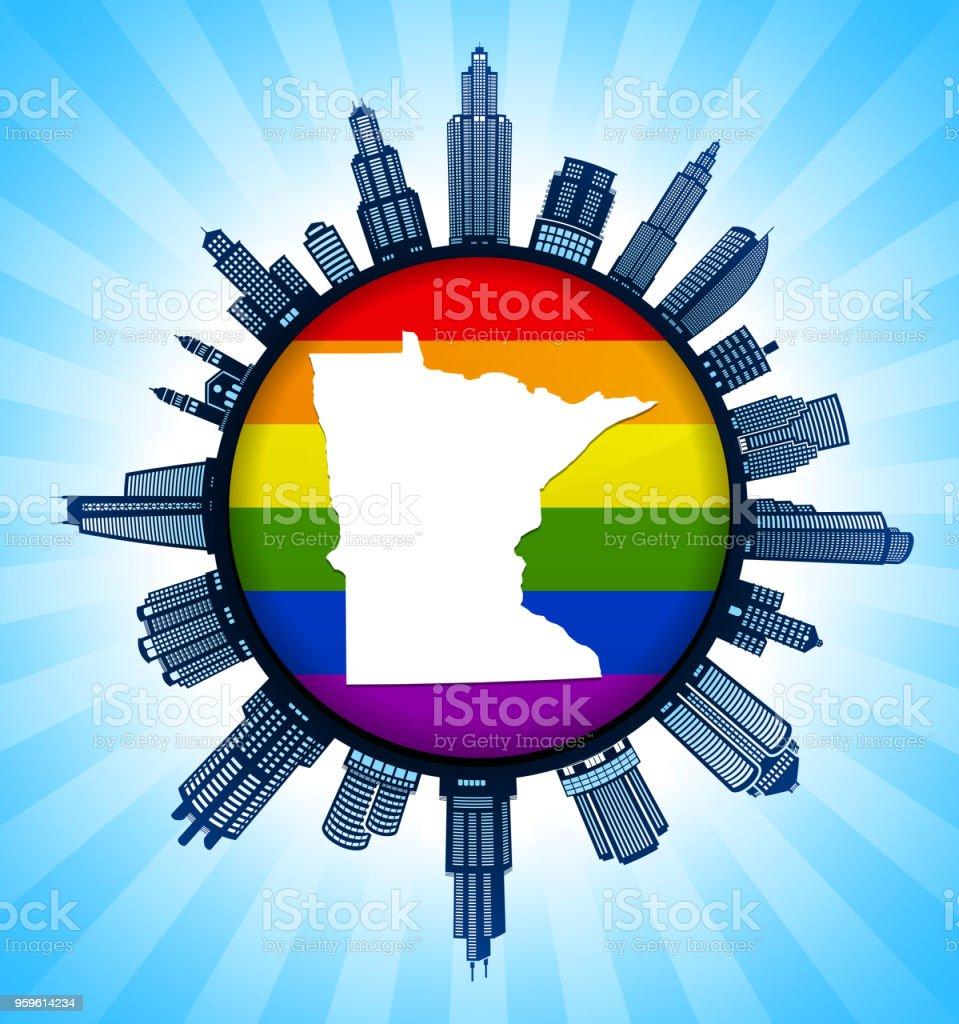 Mapa del estado de Minnesota en el Gay Pride ciudad horizonte fondo - arte vectorial de Alto - Descripción física libre de derechos
