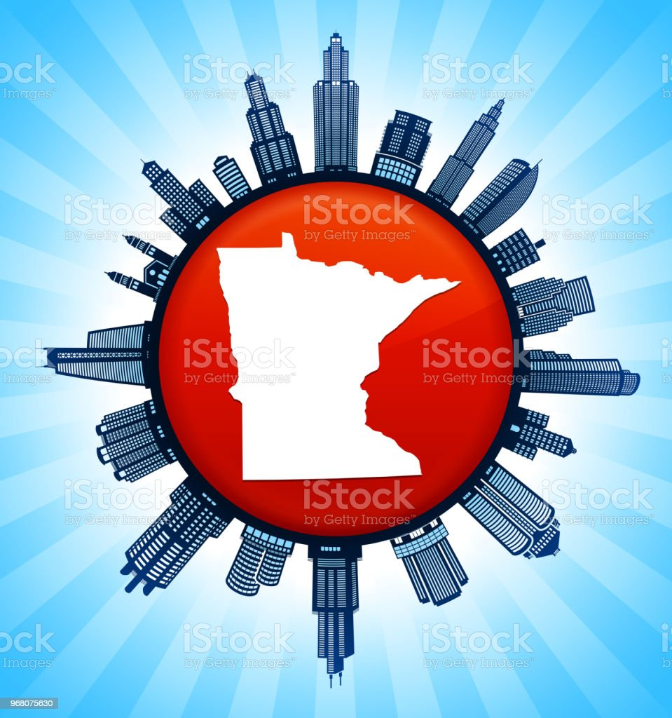 Minnesota State Map On Republican Red City Skyline Background Stock