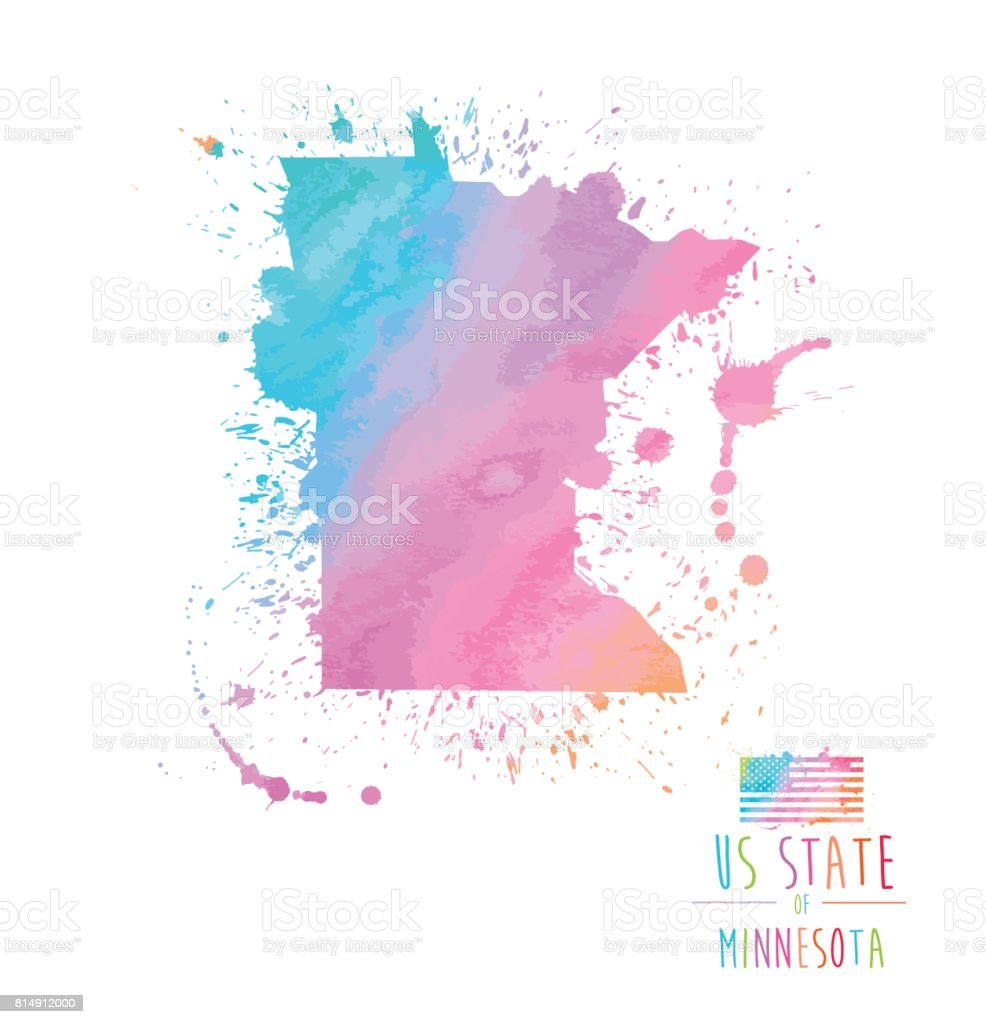 Ilustración de Estado De Minnesota Acuarela Splash y más banco de ...