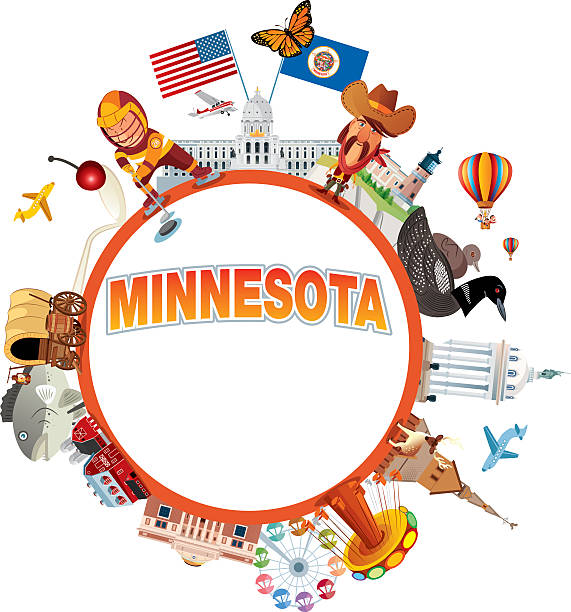 Minnesota Travel Vector Minnesota Travel loon bird stock illustrations