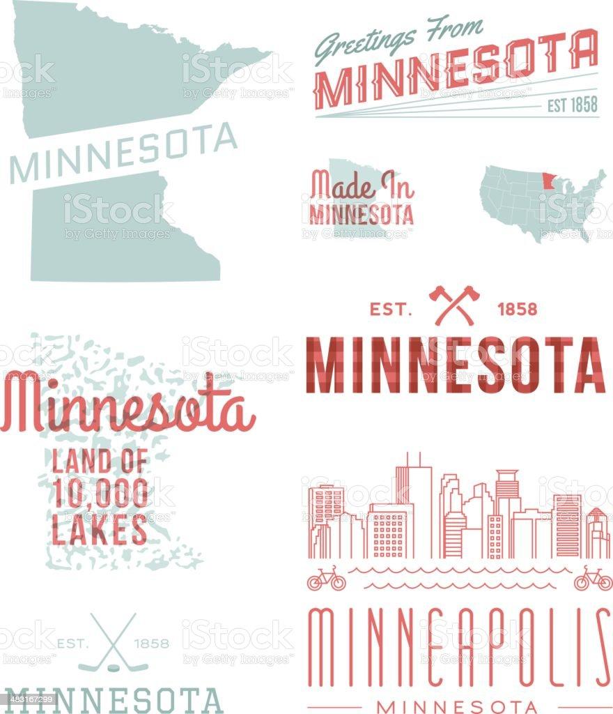 Minnesota Typography vector art illustration