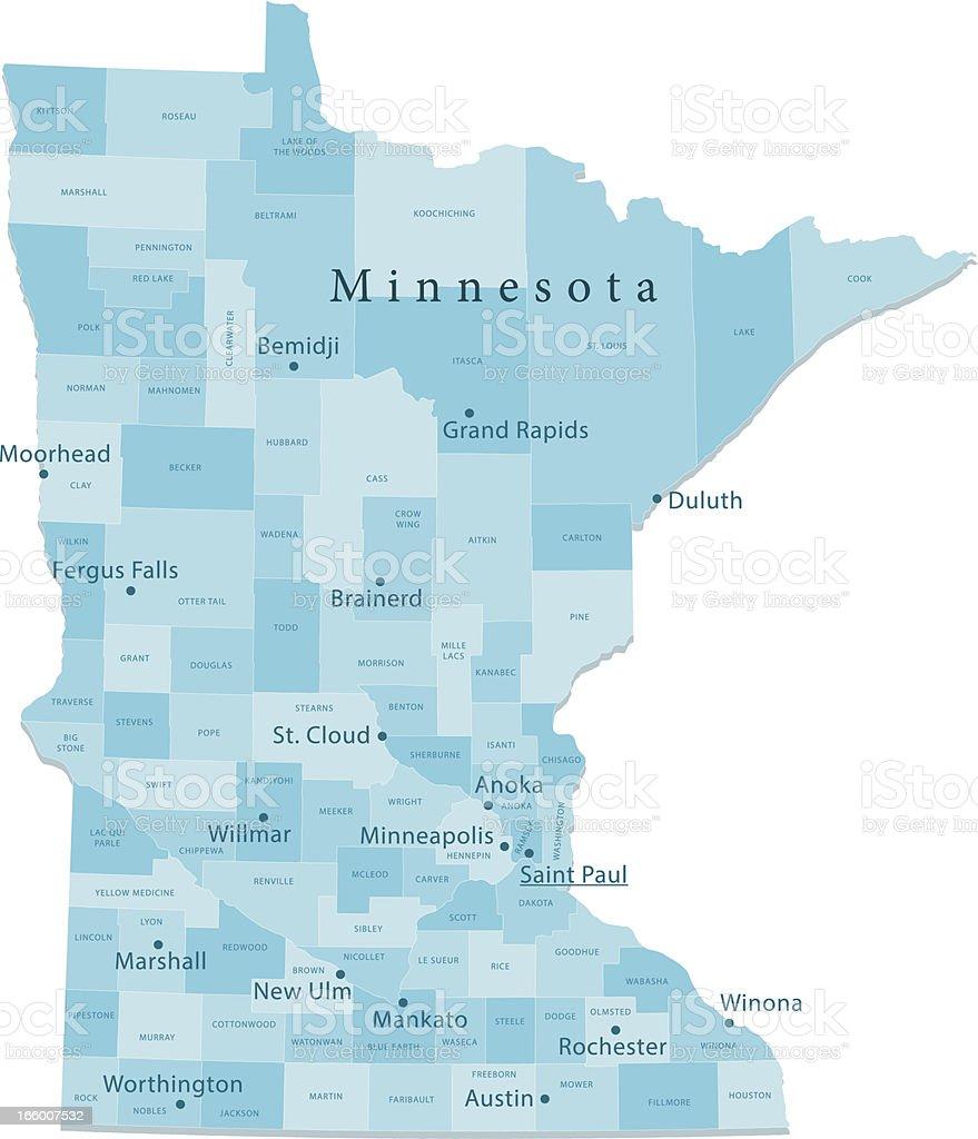 Minnesota Vector Map Regions Isolated vector art illustration