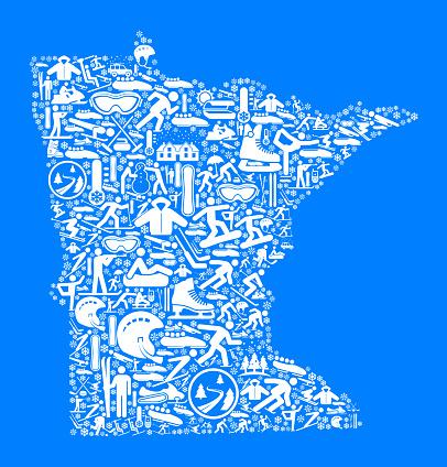 Minnesota Winter Sport Fun  Vector Graphic