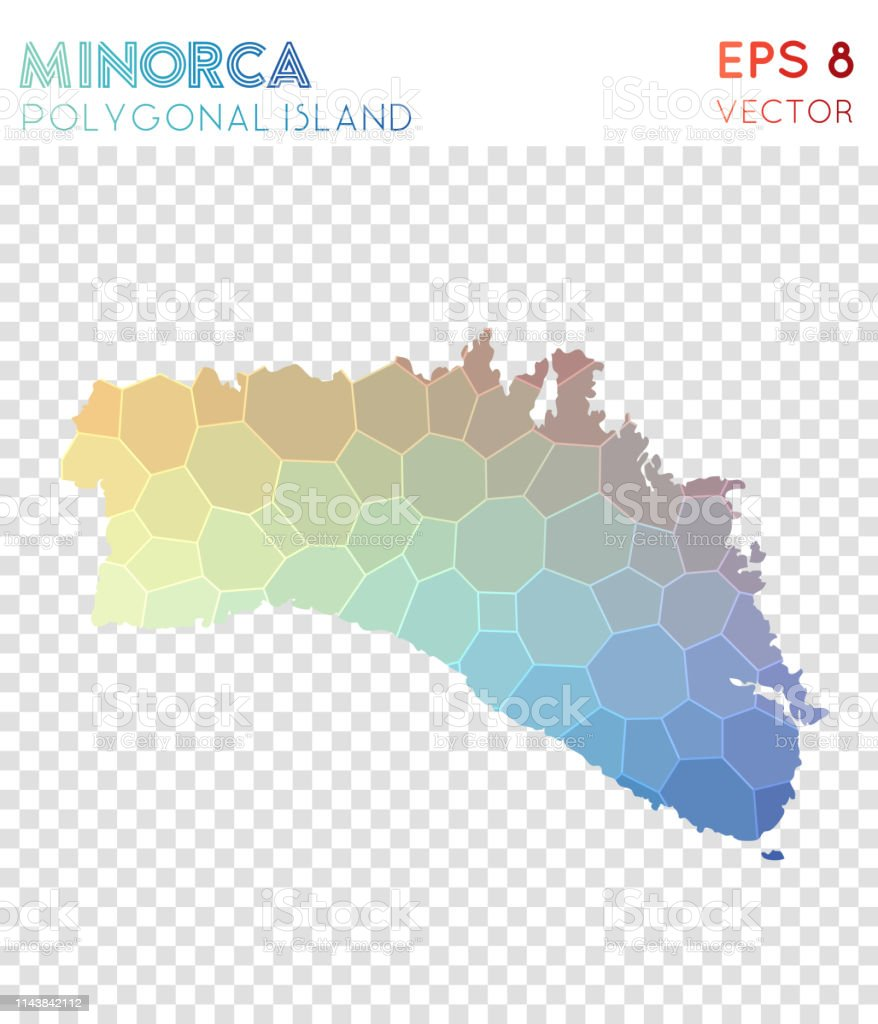 Insel Menorca Karte.Menorca Polygonale Karte Mosaikstil Insel Stock Vektor Art