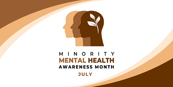 Minority Mental Health Awareness Month. Vector web banner for social media, poster, card, flyer. Text Minority Mental Health Awareness Month, July. Human head, a plant with leaves on white background.