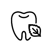 mint action on teeth icon vector. mint action on teeth sign. isolated contour symbol illustration