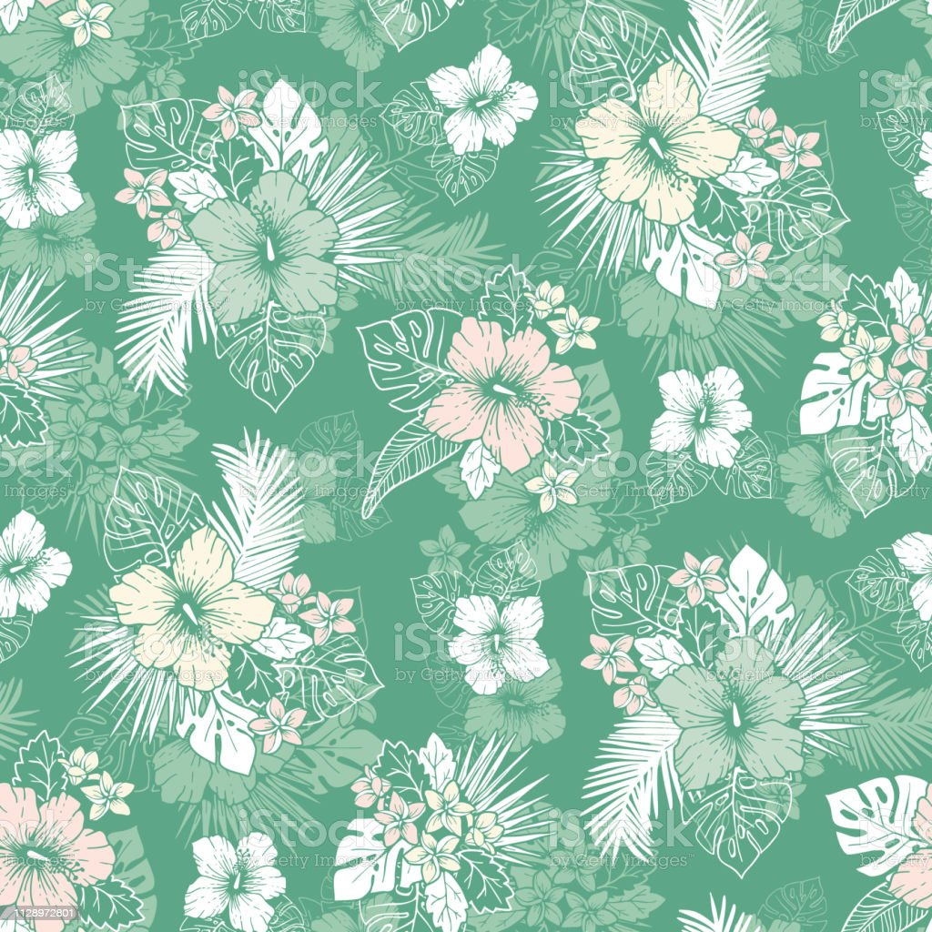 Mint And White Tropical Exotic Foliage And Hibiscus Floral Vector