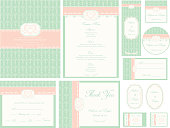 Blue & Gold Damask Wedding Invitation set of twelve elements.  Each element has pastel green damask pattern with white frames with text information.  Set includes the invitation, RSVP card, thank you note, place cards, menu, magnets, labels and stamps.