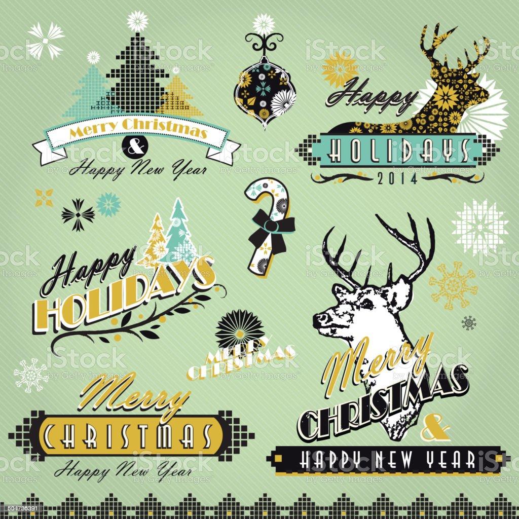 Menta Verde Conjunto Vintage Navidad Etiquetas De Diseños Pollo ...