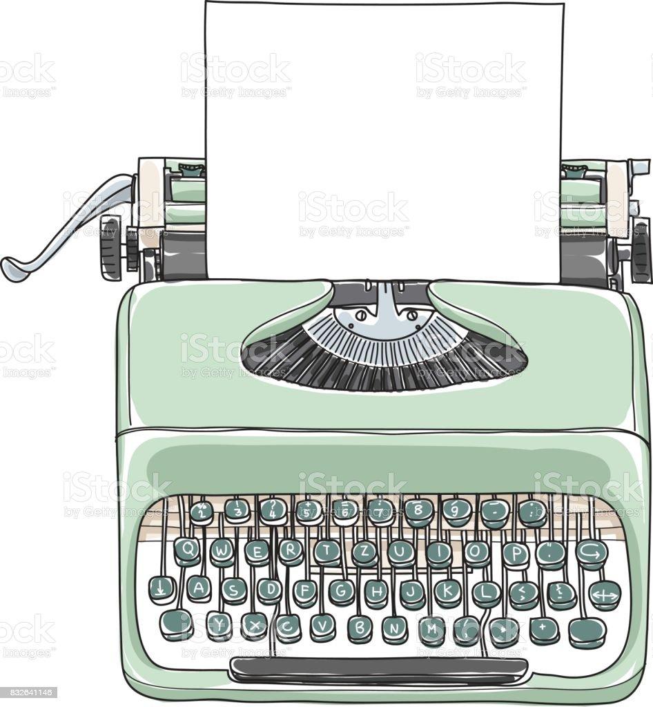 Retro Portátil De Escribir Vintage De Menta Verde Con Ilustración De ...