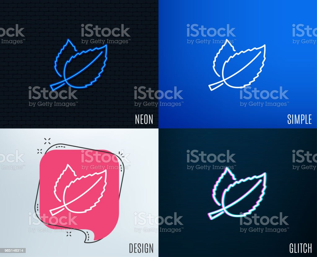 Mint leaves line icon. Herbal leaf. royalty-free mint leaves line icon herbal leaf stock vector art & more images of drink