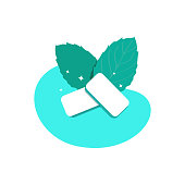 Mint-flavored gum pads. Fresh green mint leaves. Product for fresh breath. Chewing gum for healthy teeth and oral hygiene. Vector illustration isolated on a white background.