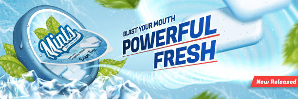 Mints gum ads Mints gum ads, freshen breath product with ice cubes and mint leaves isolated on blue background mint candy stock illustrations