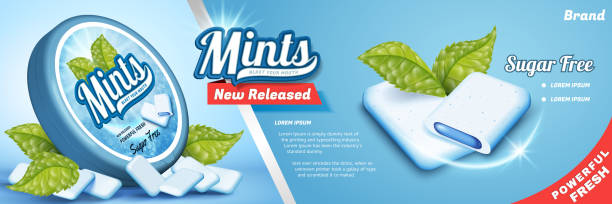 Mints gum ads Mints gum ads, freshen breath product with mint leaves isolated on blue background, gum with cool fillings mint candy stock illustrations