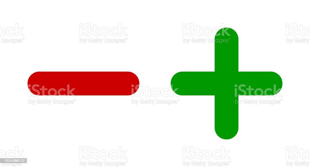Minus Plus Sign Icons Negative And Positive Symbols Icon Set Stock