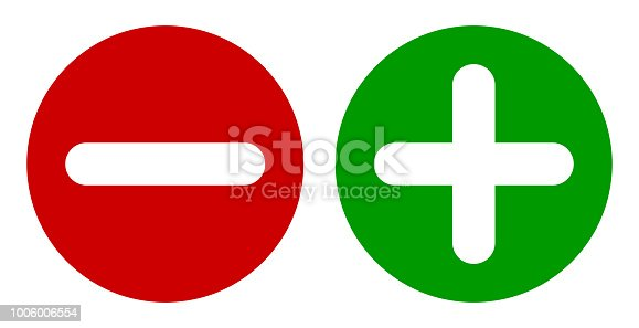 Minus & Plus Signs Icons, Flat Round Buttons Set. Vector EPS 10