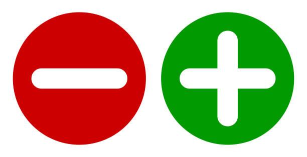 illustrazioni stock, clip art, cartoni animati e icone di tendenza di minus & plus signs icons, set di pulsanti rotondi piatti. - segno meno