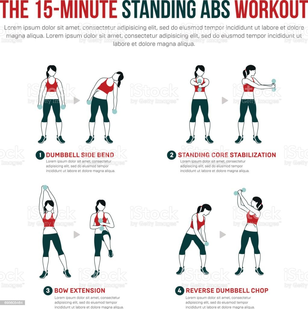 15 minute standing abs workout vector art illustration
