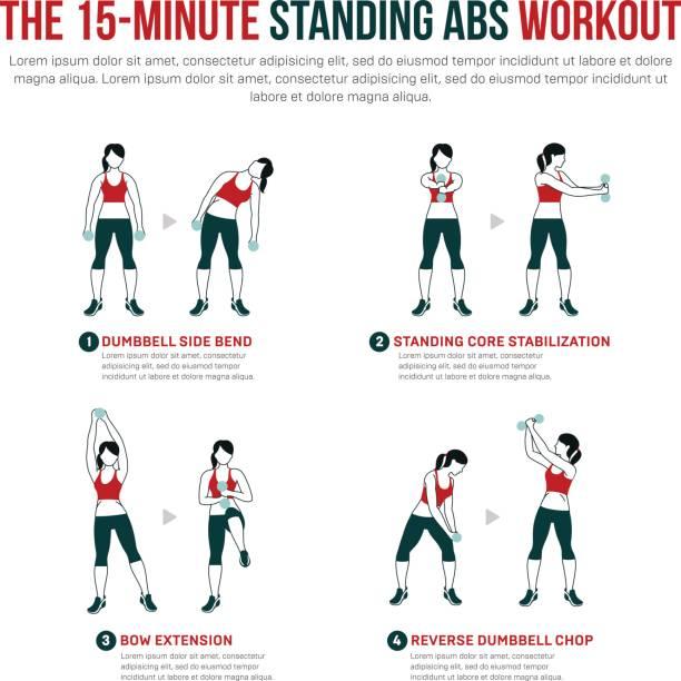 15 Minuten stehen abs workout – Vektorgrafik
