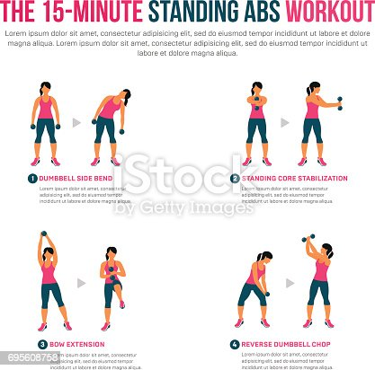 15 minute standing abs workout stock vector art  more