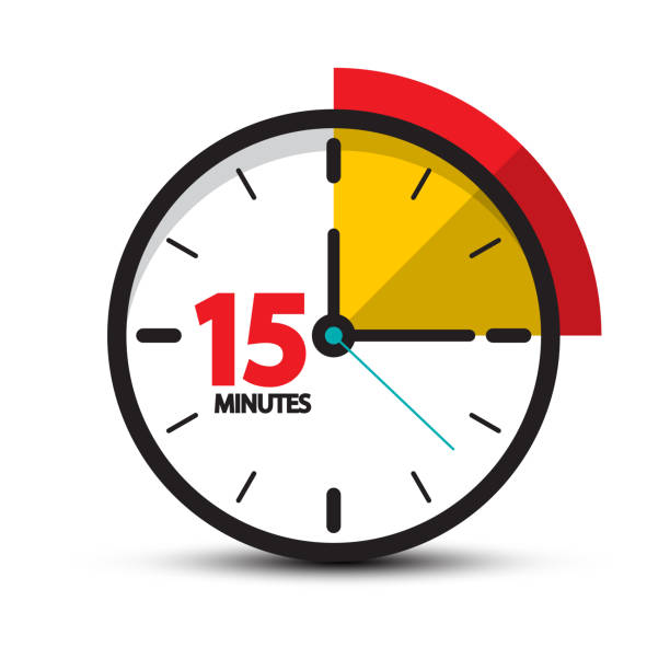 15 Minutes Clock Icon vector art illustration