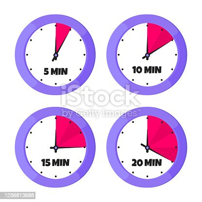 Minutes countdown on analog clock face flat style design vector illustration icon sign set isolated on white background. Analogue wall clock minutes time management business concept.