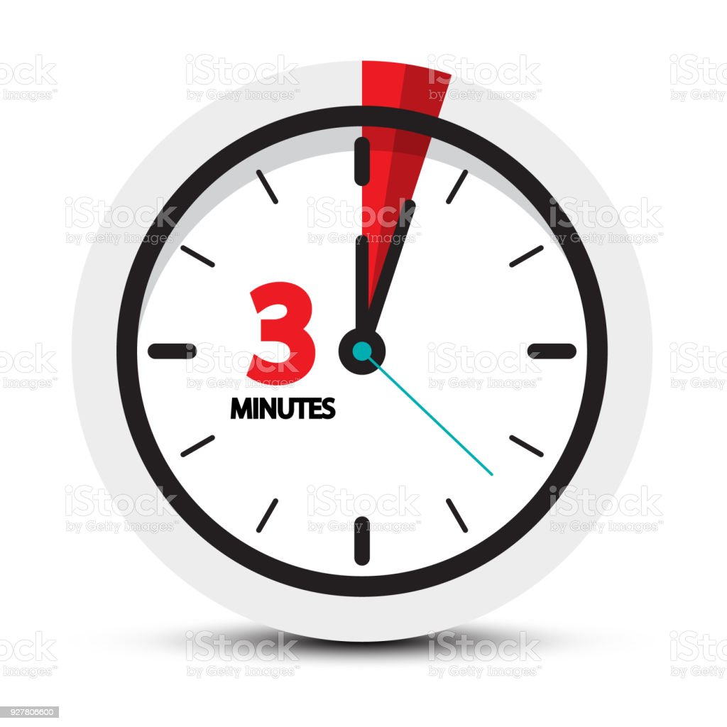 3 Minutes Icon. vector art illustration