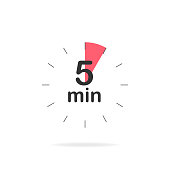 istock 5 minutes timer. Stopwatch symbol in flat style. Isolated vector illustration. 1235259135