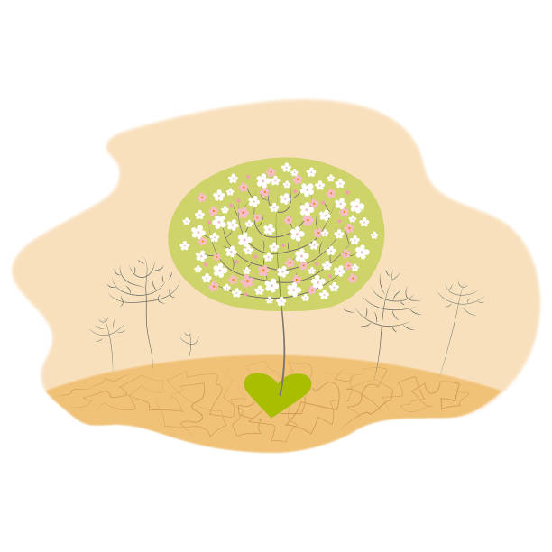 Miracle of healing love make bloom and brings spring and brings life to the desert vector art illustration