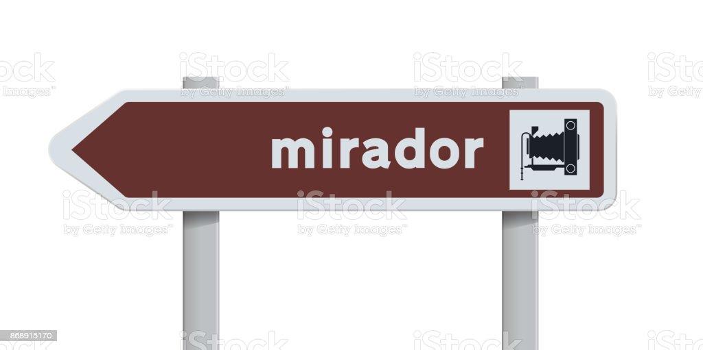 Mirador Spanish direction road sign vector art illustration