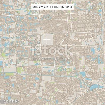 Miramar Florida Us City Street Map Stock Vector Art More Images Of