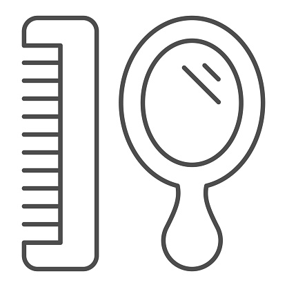 Mirror and hairbrush thin line icon, Hygiene routine concept, hairdresser tools sign on white background, small hand mirror and barber comb icon in outline style for mobile. Vector graphics.