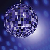 Mirror disco ball on shining background.