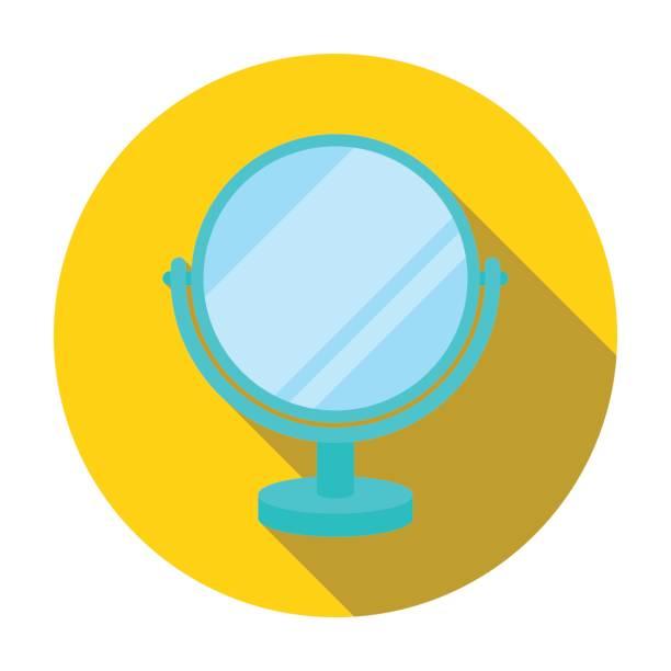 Mirror icon in flat style isolated on white background. Make up symbol stock vector illustration. - illustrazione arte vettoriale