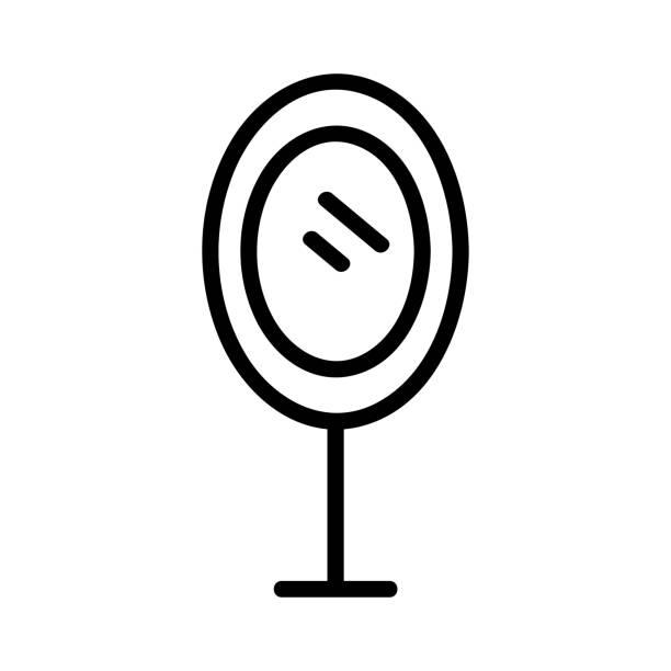 illustrations, cliparts, dessins animés et icônes de vecteur d'icône de miroir. illustration d'illustration isolée de symbole de contour - abstract mirror